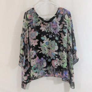 Floral Lined Blouse by Sioni ~ Size SMALL
